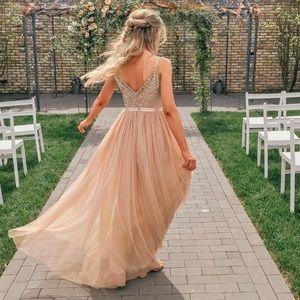 BHLDN Avery Beaded Sequin Tulle Bridesmaid Dress